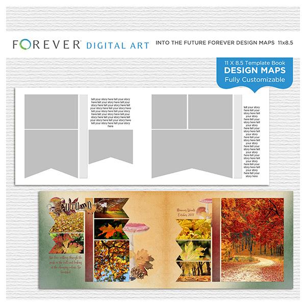 Into the Future Forever Design Map 11x8.5 Digital Art - Digital Scrapbooking Kits