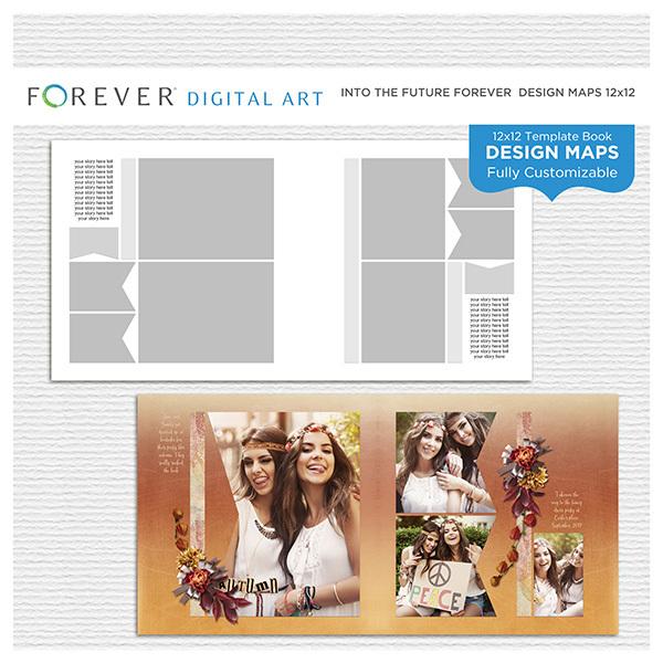 Into the Future Forever Design Map 12x12 Digital Art - Digital Scrapbooking Kits