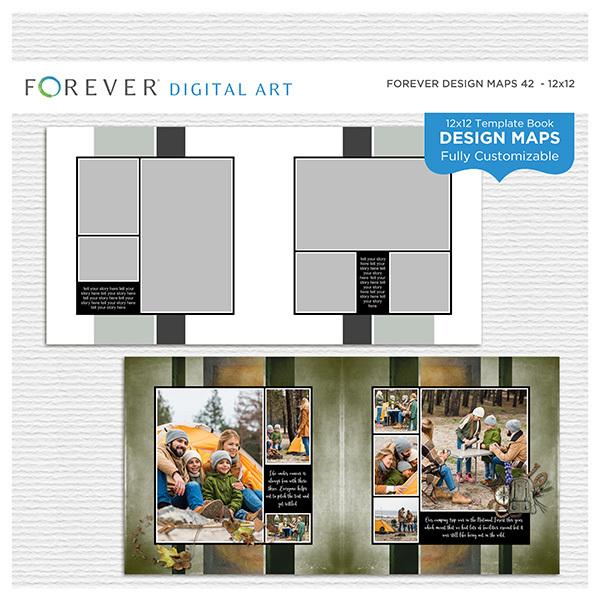 Forever Design Maps 42 12x12 Digital Art - Digital Scrapbooking Kits