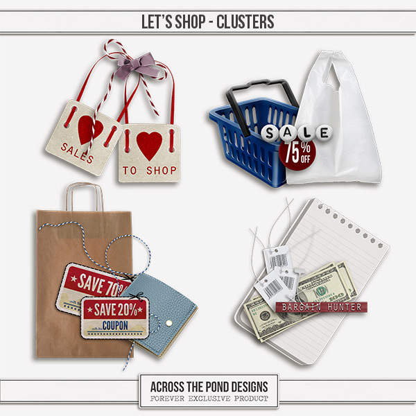 Let's Shop Clusters Digital Art - Digital Scrapbooking Kits
