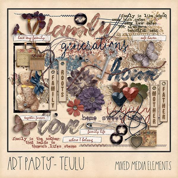 Teulu Mixed Media Embellishments Digital Art - Digital Scrapbooking Kits