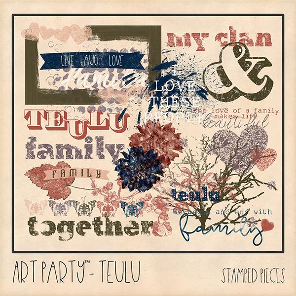 Teulu Stamped Pieces Digital Art - Digital Scrapbooking Kits