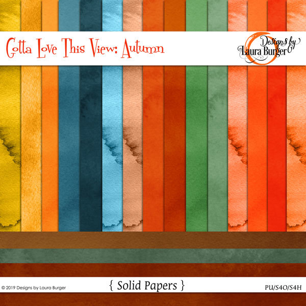 Gotta Love The View- Autumn Solid Papers Digital Art - Digital Scrapbooking Kits