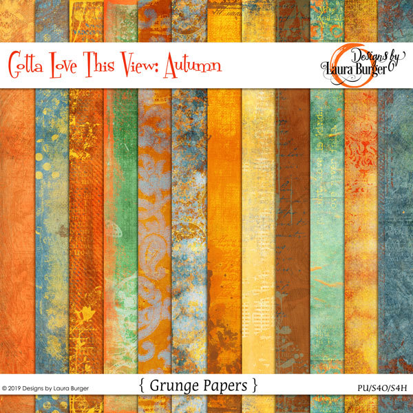 Gotta Love The View- Autumn Grunge Papers Digital Art - Digital Scrapbooking Kits