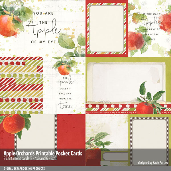 Apple Orchards Printable Pocket Cards Digital Art - Digital Scrapbooking Kits