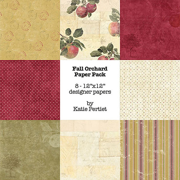 Fall Orchard Paper Pack Digital Art - Digital Scrapbooking Kits