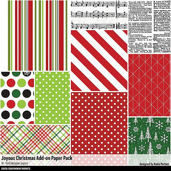 Joyous Christmas Add-On Paper Pack Digital Art - Digital Scrapbooking Kits