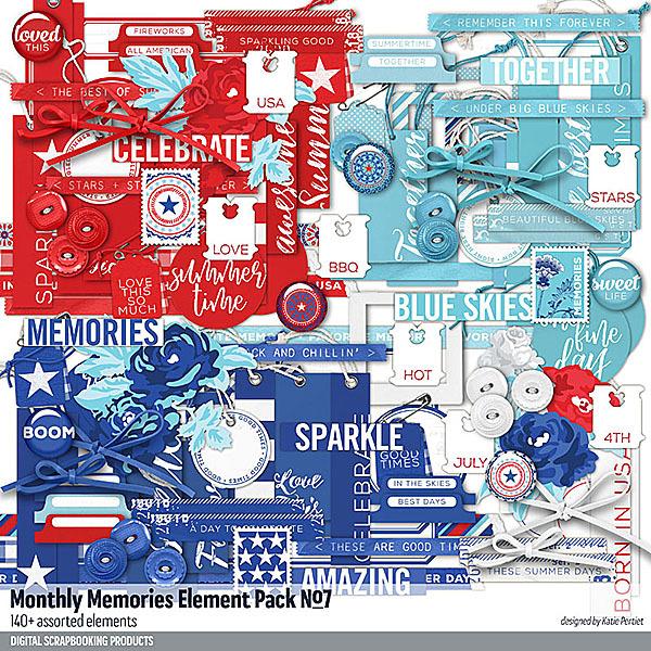 Monthly Memories Element Pack No. 07 Digital Art - Digital Scrapbooking Kits
