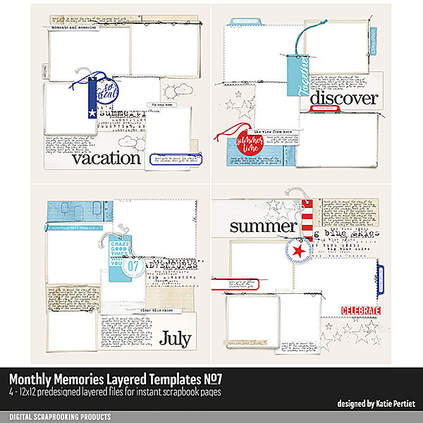 Monthly Memories Layered Template Pack No. 07 Digital Art - Digital Scrapbooking Kits