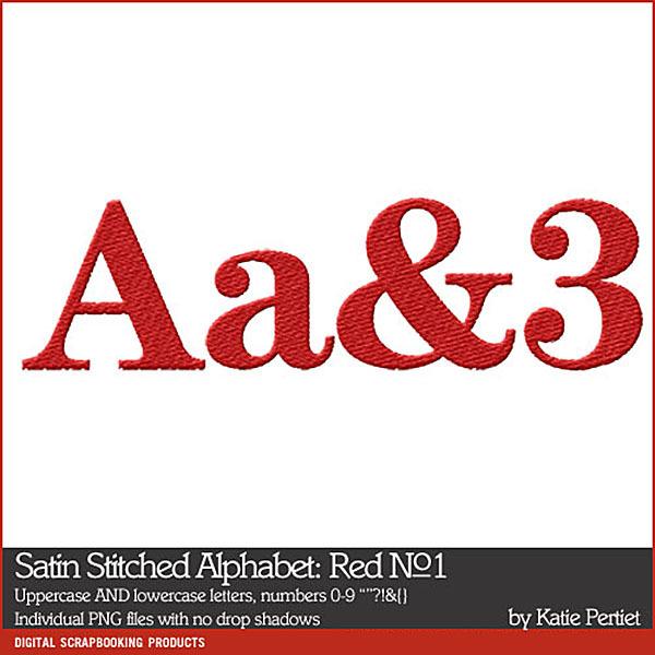 Satin Stitched Alphabet Red No. 01 Digital Art - Digital Scrapbooking Kits