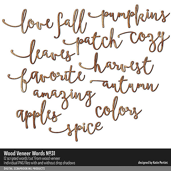 Wood Veneer Words No. 31 Digital Art - Digital Scrapbooking Kits