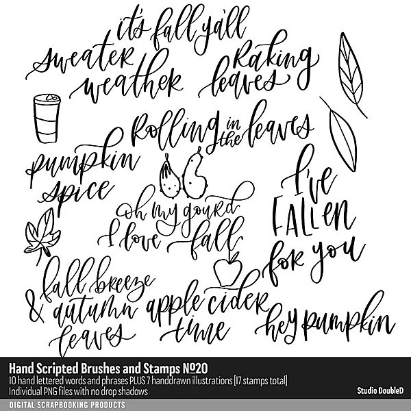 Hand Scripted Brushes and Stamps No. 20 Digital Art - Digital Scrapbooking Kits