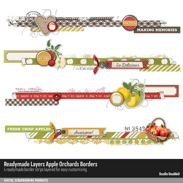 Readymade Layers Apple Orchard Borders Digital Art - Digital Scrapbooking Kits
