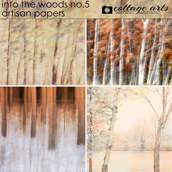 Into the Woods 5 Artisan Papers Digital Art - Digital Scrapbooking Kits