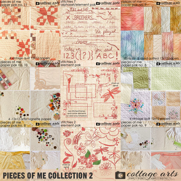 Pieces of Me Collection 2 Digital Art - Digital Scrapbooking Kits