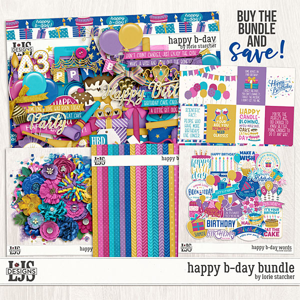 Happy B-Day Bundle Digital Art - Digital Scrapbooking Kits