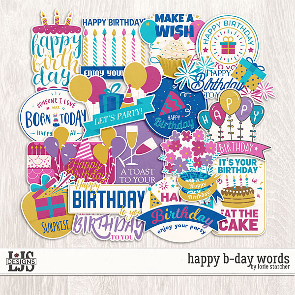 Happy B-Day Words Digital Art - Digital Scrapbooking Kits