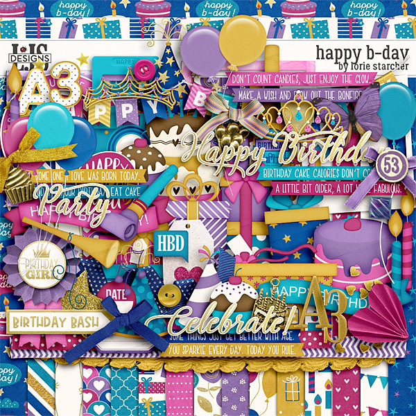 Happy B-Day Kit Digital Art - Digital Scrapbooking Kits