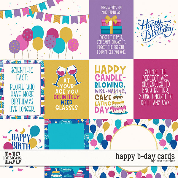 Happy B-Day Cards Digital Art - Digital Scrapbooking Kits