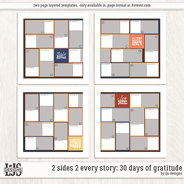 2 sides - 30 Days of Gratitude Digital Art - Digital Scrapbooking Kits