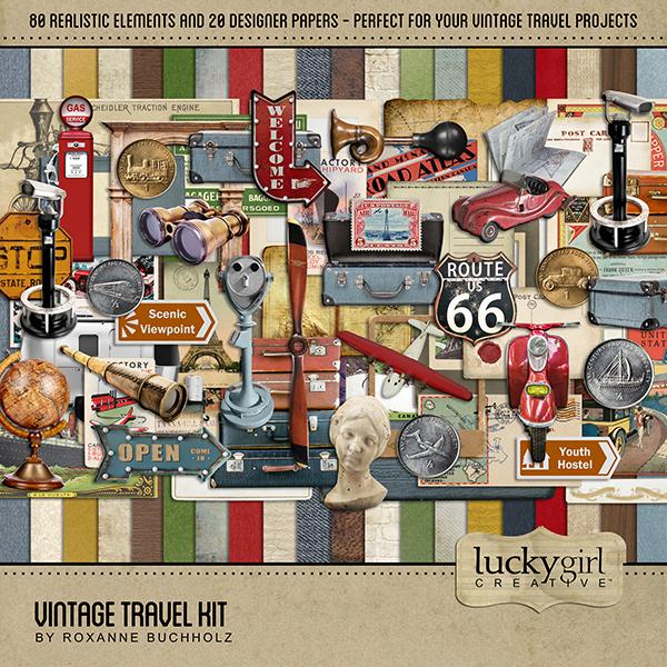 Vintage Travel Kit Digital Art - Digital Scrapbooking Kits
