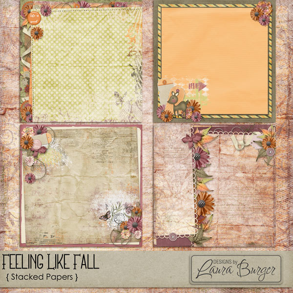 Feeling Like Fall Stacked Papers Digital Art - Digital Scrapbooking Kits