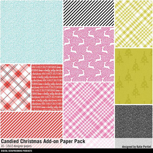 Candied Christmas Add-On Paper Pack Digital Art - Digital Scrapbooking Kits