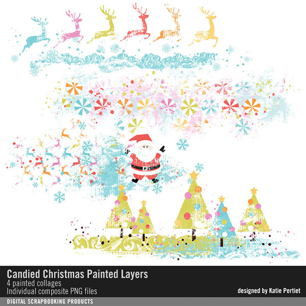 Candied Christmas Painted Layers Digital Art - Digital Scrapbooking Kits