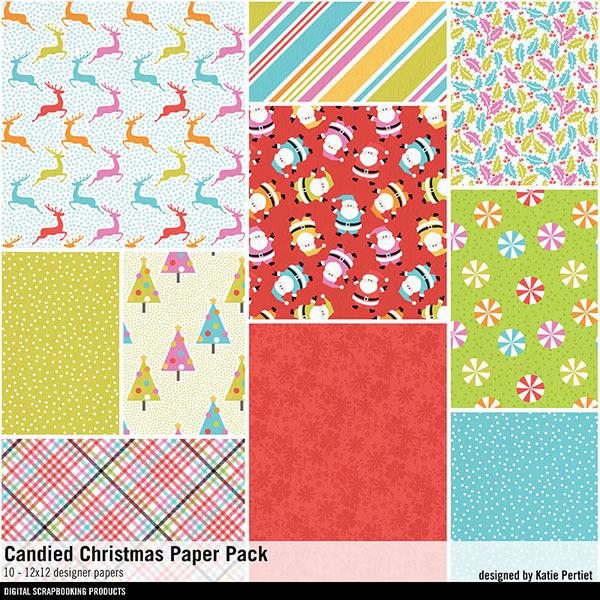 Candied Christmas Paper Pack Digital Art - Digital Scrapbooking Kits