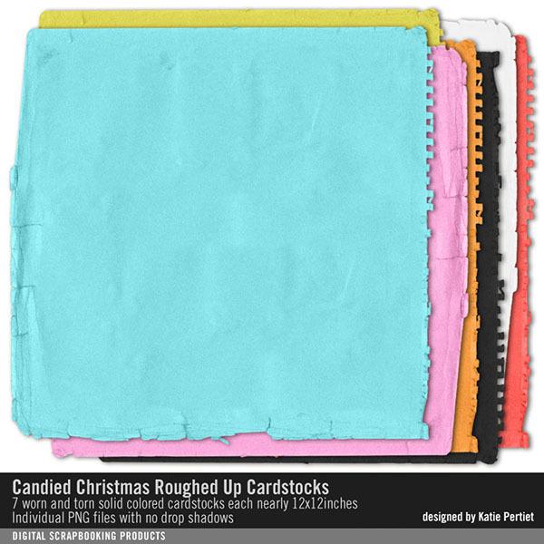 Candied Christmas Roughed Up Cardstocks Paper Pack Digital Art - Digital Scrapbooking Kits