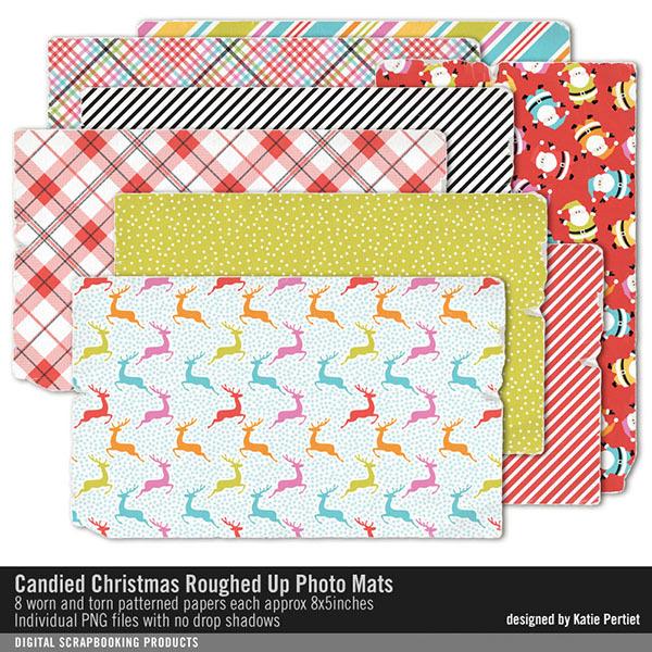 Candied Christmas Roughed Up Photo Mats Digital Art - Digital Scrapbooking Kits