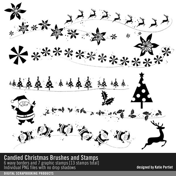 Candied Christmas Brushes and Stamps Digital Art - Digital Scrapbooking Kits