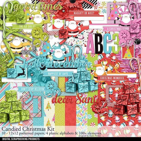 Candied Christmas Scrapbooking Kit Digital Art - Digital Scrapbooking Kits