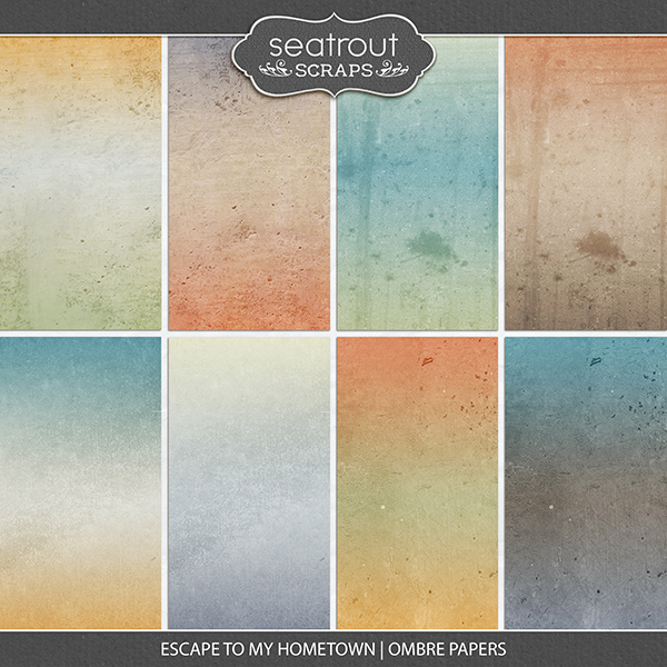 Escape to My Hometown Ombre Papers Digital Art - Digital Scrapbooking Kits