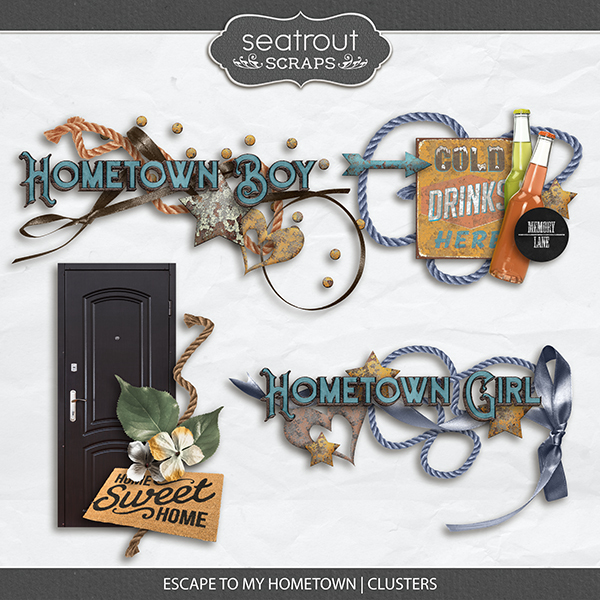 Escape to My Hometown Clusters Digital Art - Digital Scrapbooking Kits