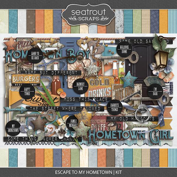 Escape to My Hometown Kit Digital Art - Digital Scrapbooking Kits
