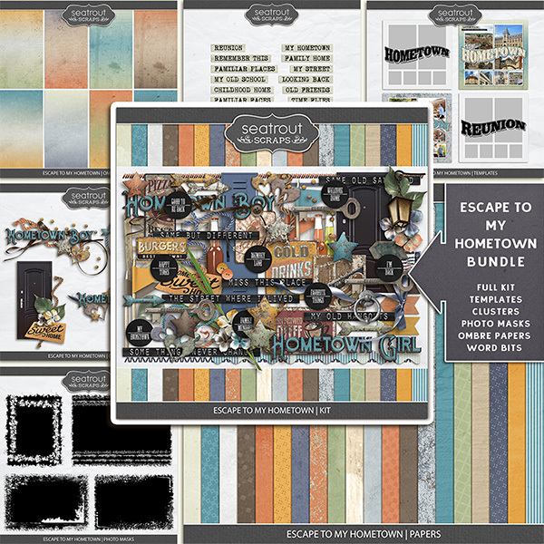 Escape to My Hometown Bundle Digital Art - Digital Scrapbooking Kits