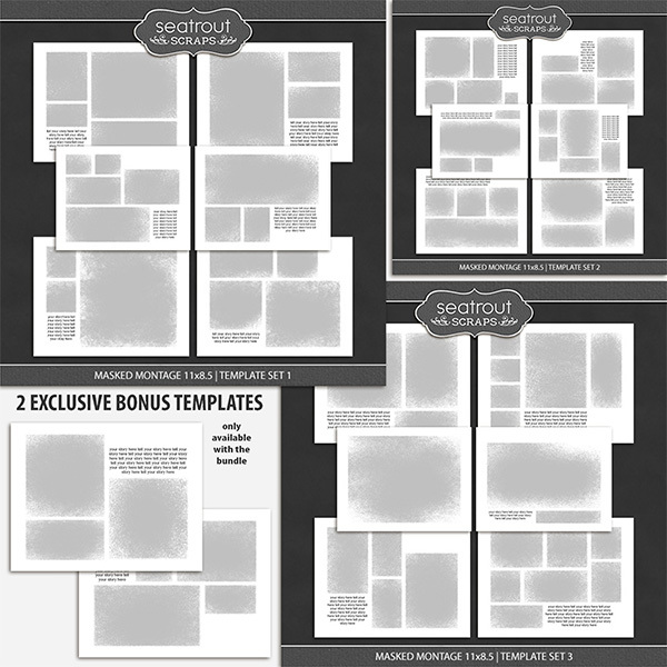 Masked Montage Bonus Bundle 1 - 11x8.5 Digital Art - Digital Scrapbooking Kits