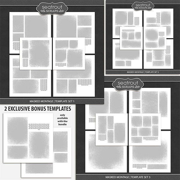Masked Montage Bonus Bundle 1 - 12x12 Digital Art - Digital Scrapbooking Kits
