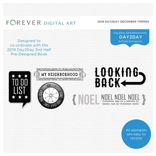 2019 Day2Day December Themes Digital Art - Digital Scrapbooking Kits