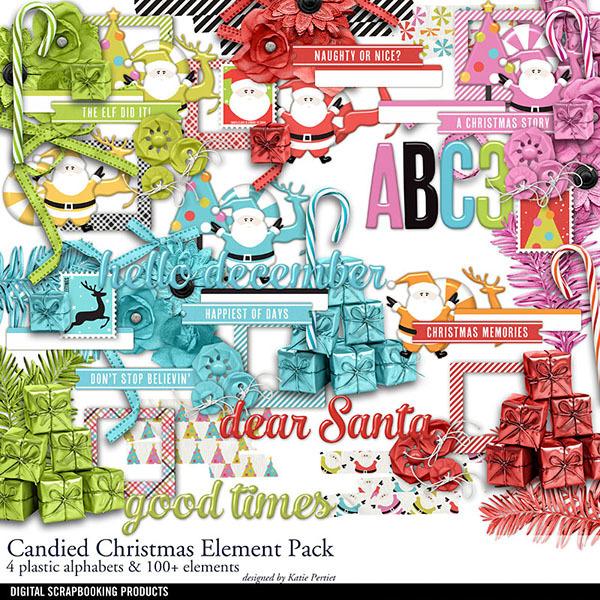 Candied Christmas Element Pack Digital Art - Digital Scrapbooking Kits