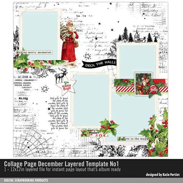 Collage Page December Layered Template No. 01