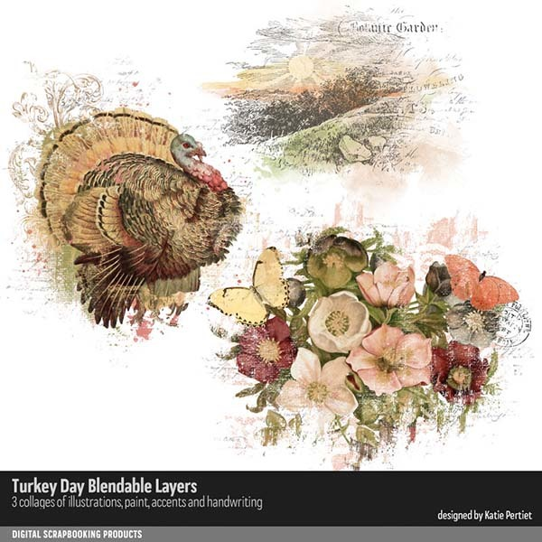 Turkey Day Blendable Layers Digital Art - Digital Scrapbooking Kits