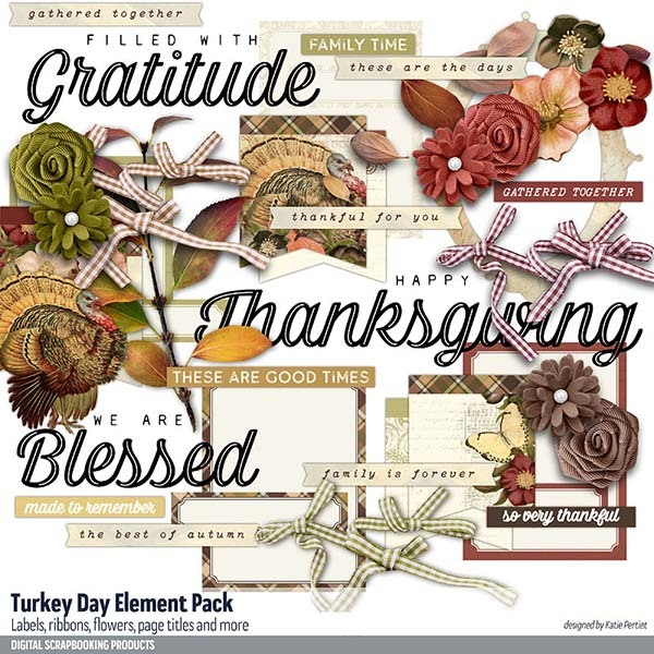 Turkey Day Element Pack Digital Art - Digital Scrapbooking Kits
