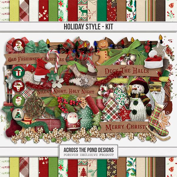 Holiday Style Kit Digital Art - Digital Scrapbooking Kits