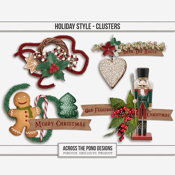 Holiday Style Clusters Digital Art - Digital Scrapbooking Kits