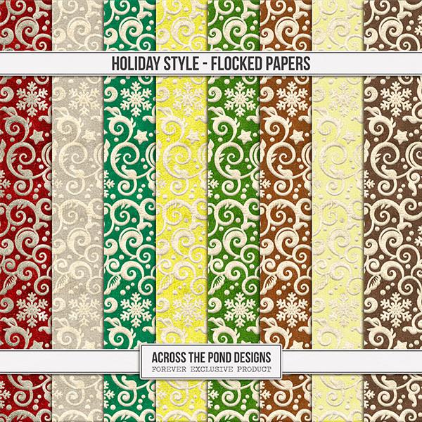 Holiday Style Flocked Papers Digital Art - Digital Scrapbooking Kits