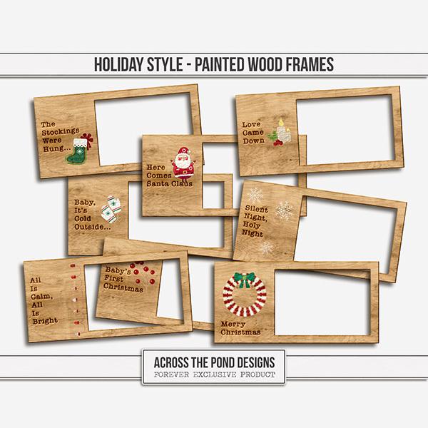 Holiday Style Wood Frames Digital Art - Digital Scrapbooking Kits