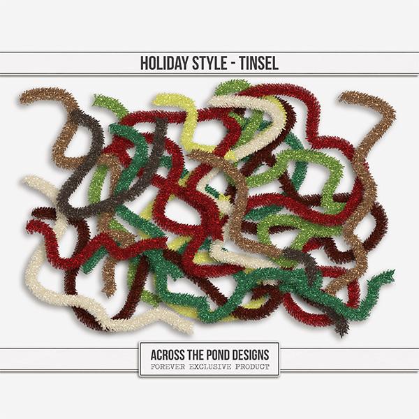 Holiday Style Tinsel Digital Art - Digital Scrapbooking Kits