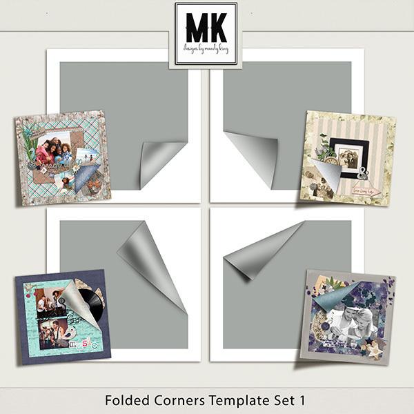 Folded Corners Template Set 1 Digital Art - Digital Scrapbooking Kits